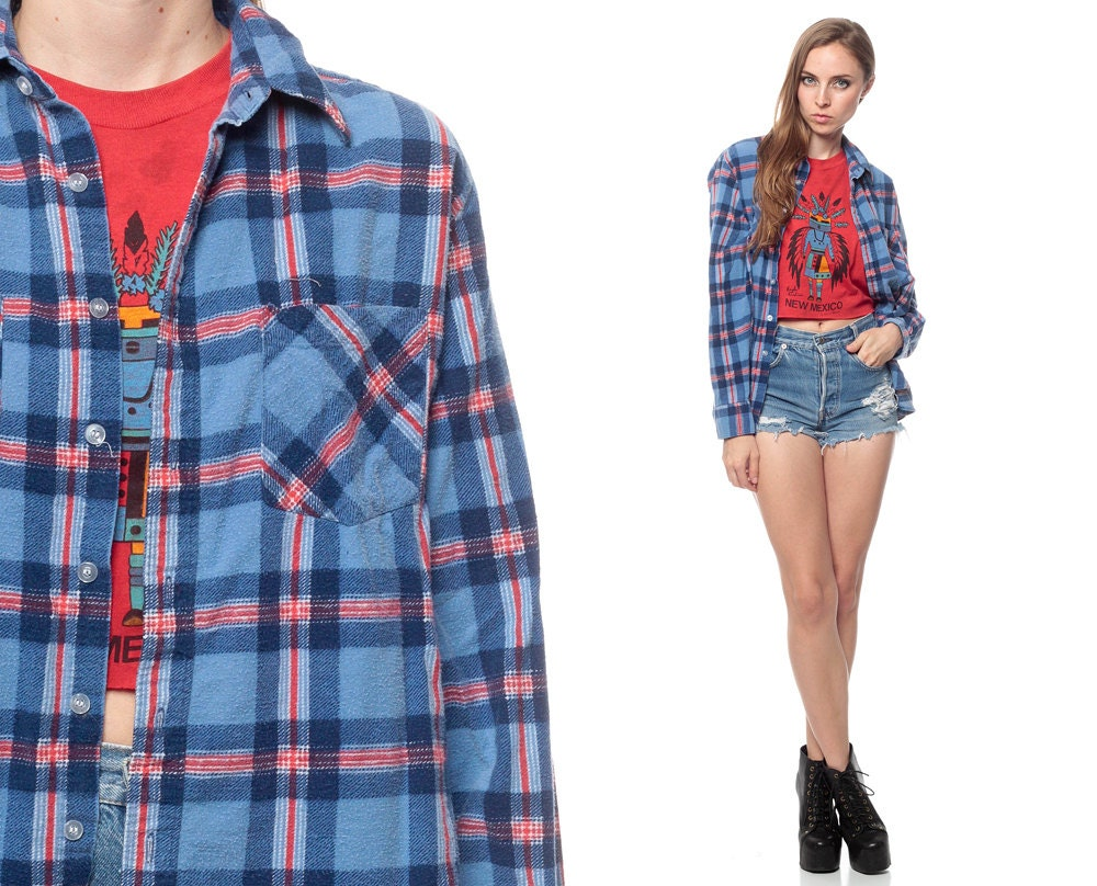 Flannel Shirt 90s Light Blue Plaid Button Up Grunge By