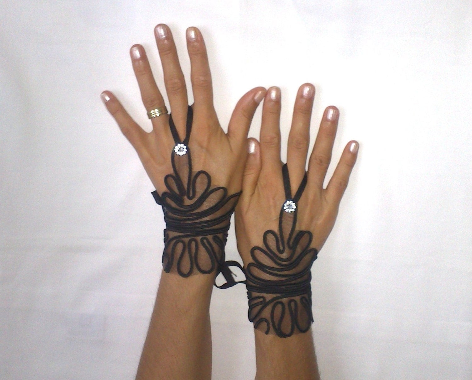 Goth gothic black lace gloves french lace bridal by for Lace glove tattoo