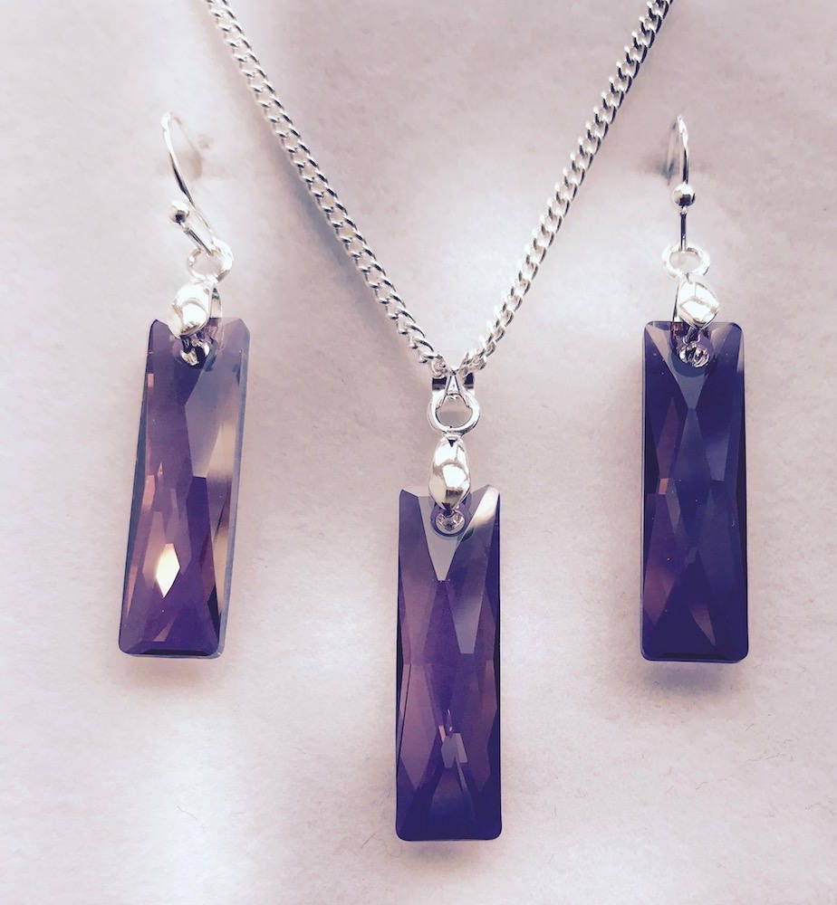 LILAC SHADOW  Earrings Pendant or Set  made with genuine Swarovski Crystals