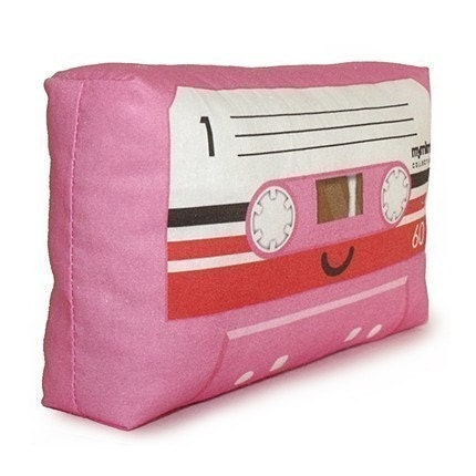 FREE SHIPPING - Pink Cassette Tape - Mini Decor Pillow