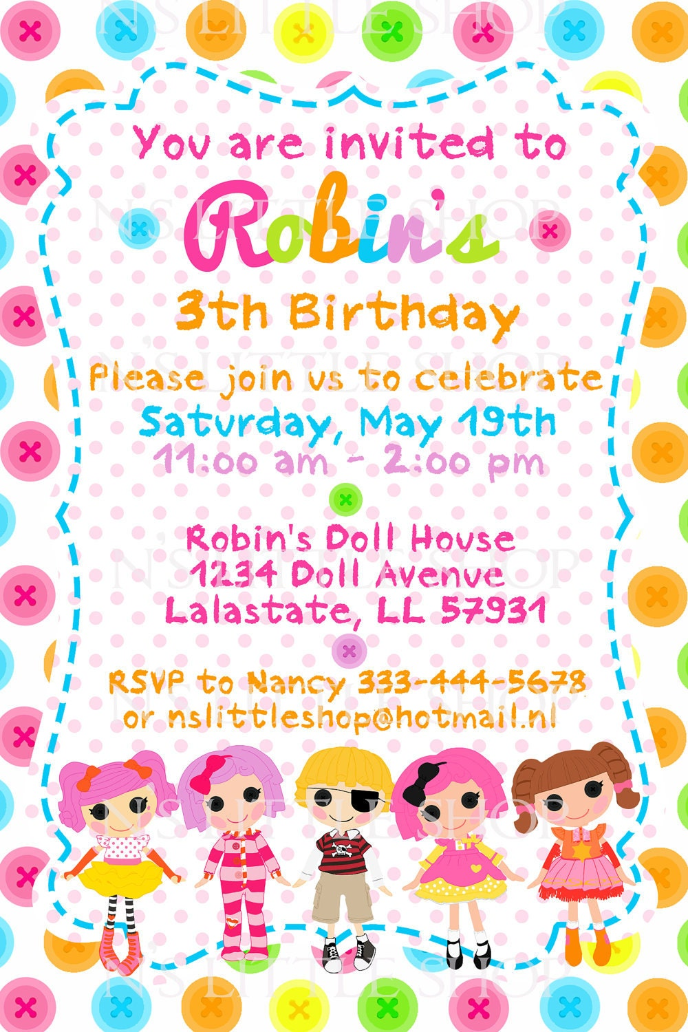 button doll birthday invitation card    customize   by