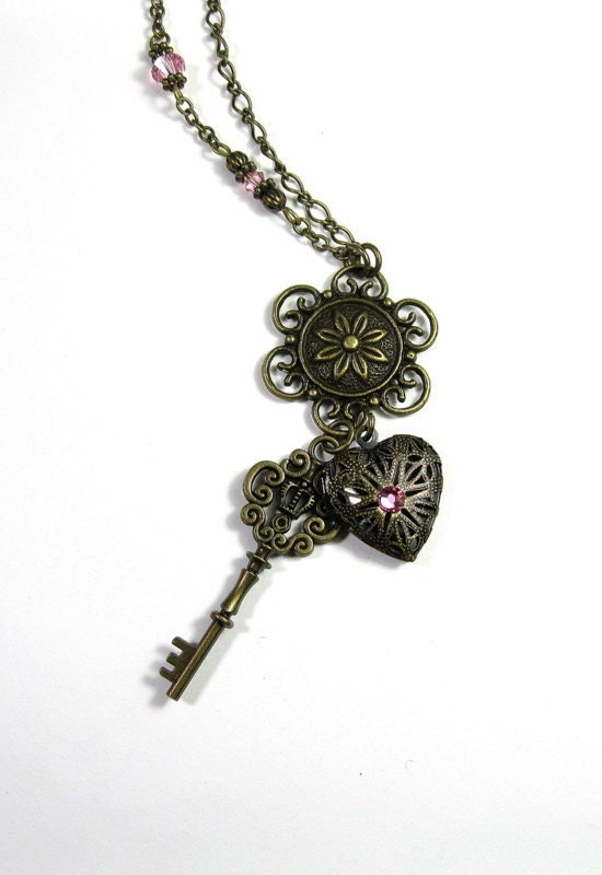 Heart Locket and Key Vintage Style Pendant Necklace