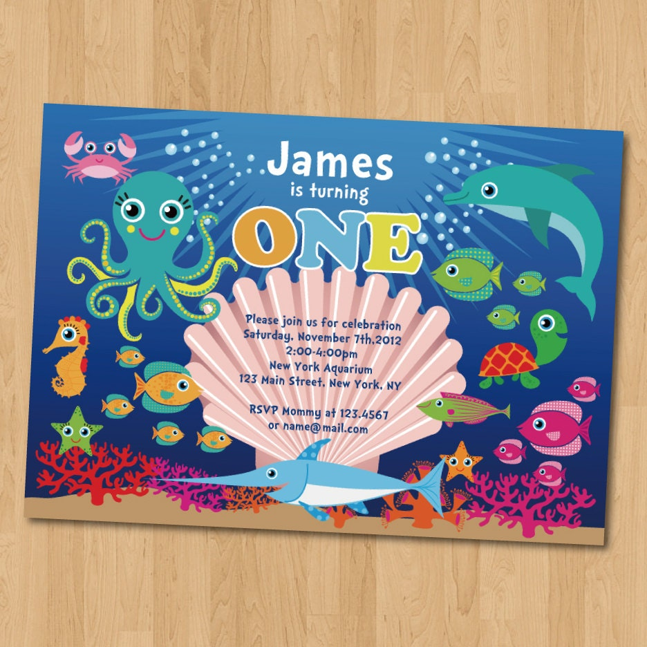 Under the Sea Birthday Party Photo Invitation by JanetteChiuDesign