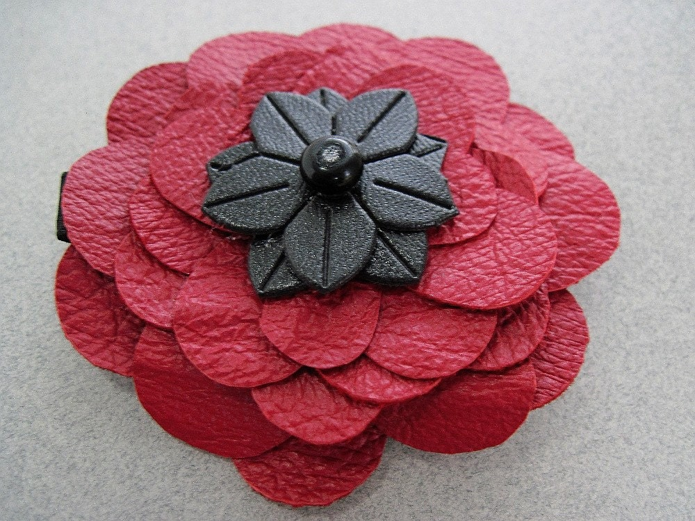 Black & Red poppy reclaimed leather flower hair clip by Lori Ramotar theroyalbead