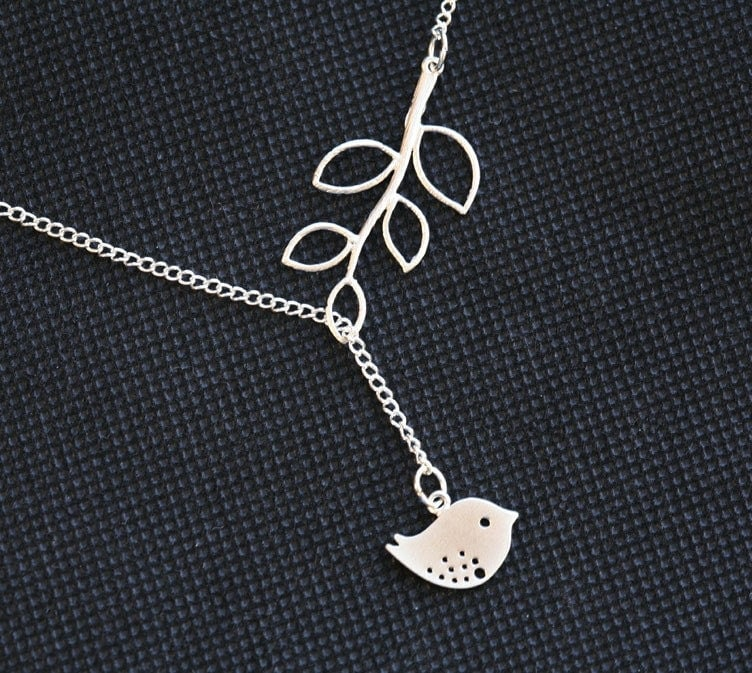 holiday sale-Lovely Silver Bird and branch Dangle Lariat