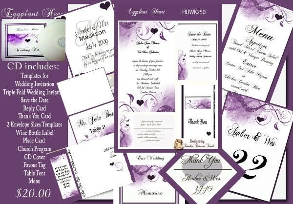 Delux Eggplant and Purple Wedding Invitation Kit on CD