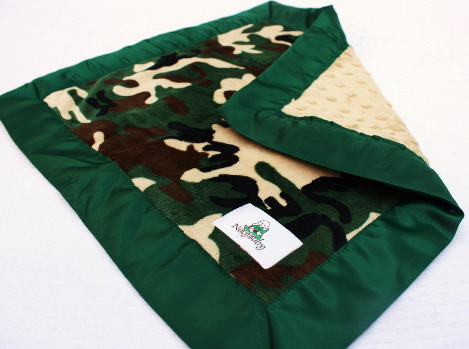 Double Minky Baby Army Lovey / Security Blanket -- Green Camo Print Minky with Hunter Green Satin Trim - NotyBaby