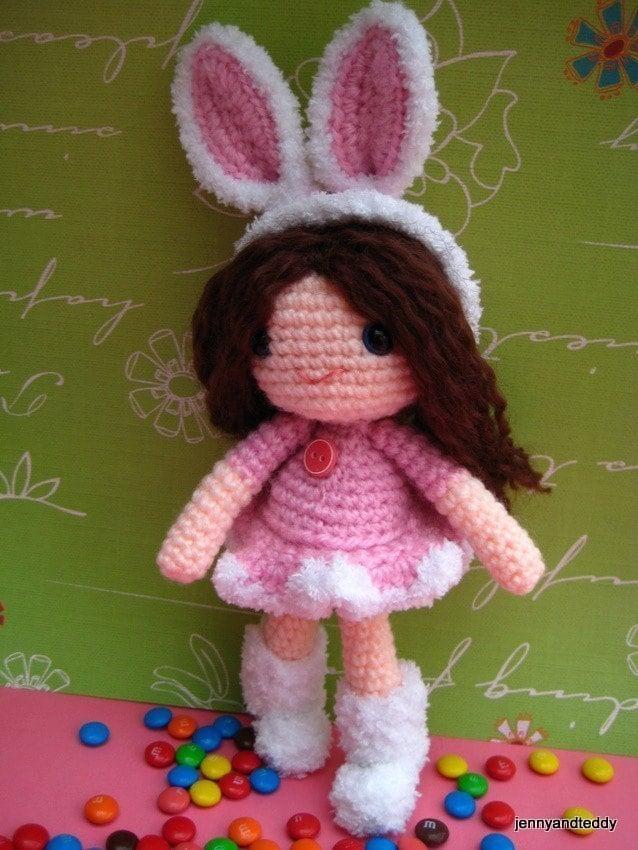 Amigurumi Pattern Girl : pdf amigurumi crochet pattern bunny girl by jennyandteddy ...