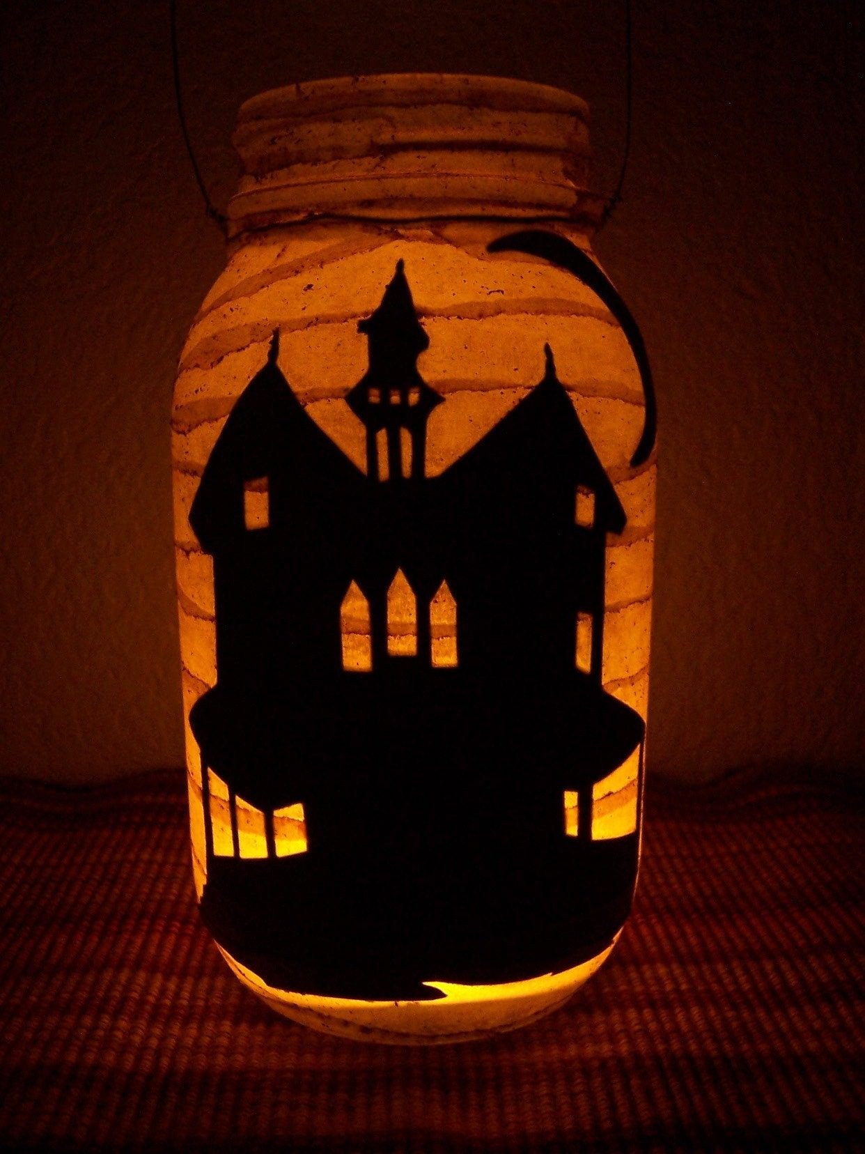 Grungy Primitive Halloween Haunted House Lantern