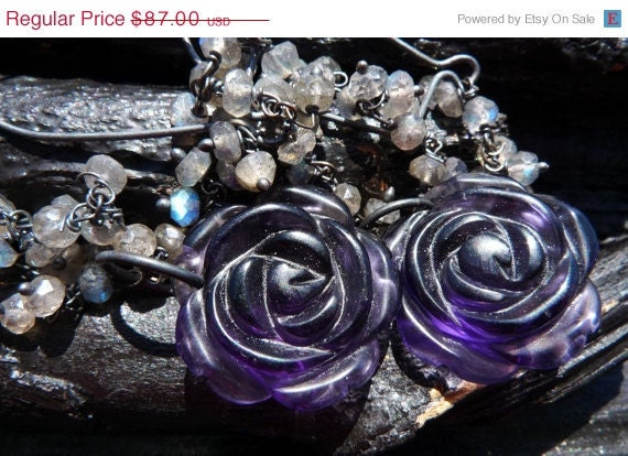ON SALE labradorite amethyst earrings Brazilian by BeijoFlor from etsy.com