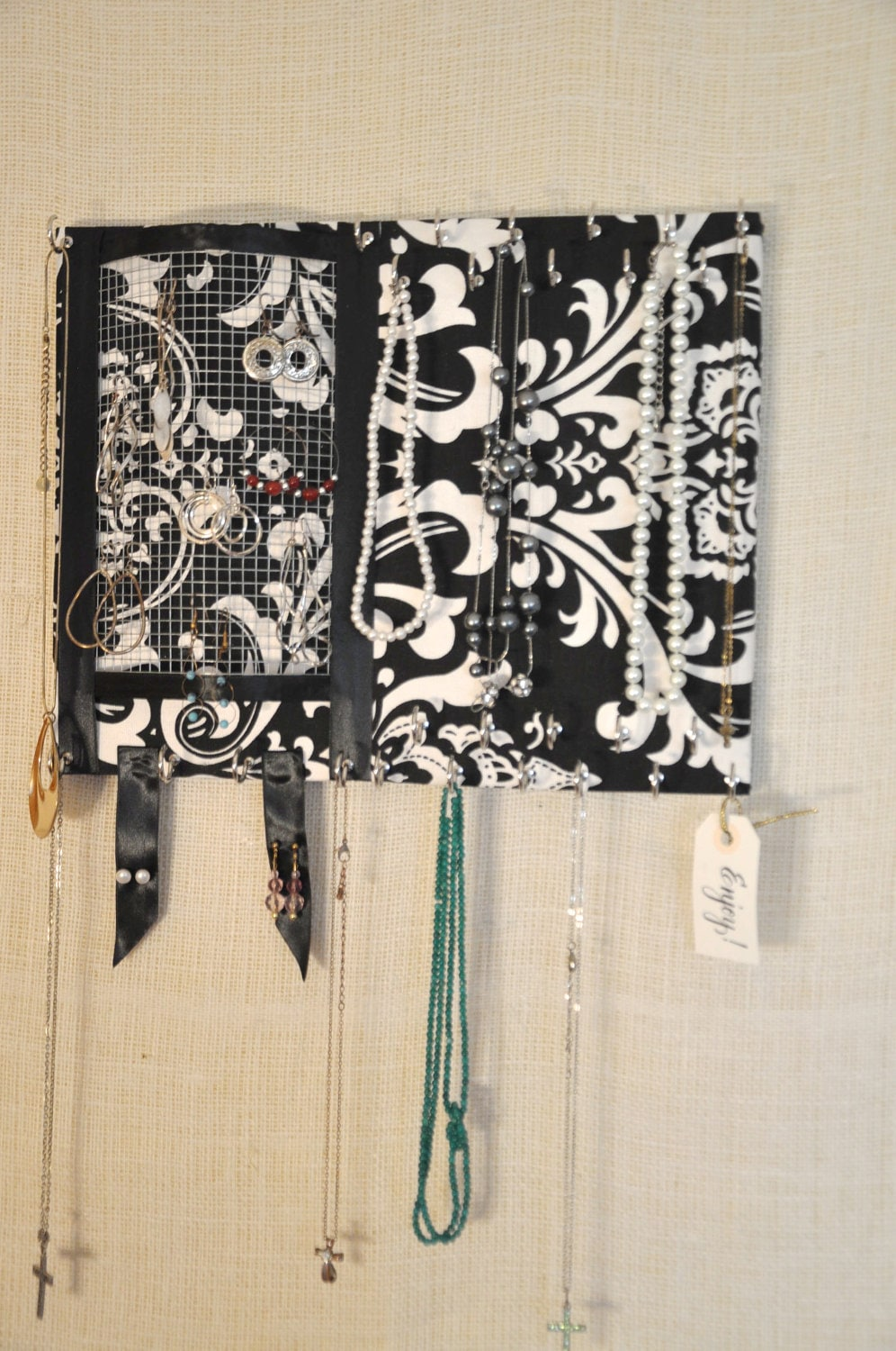 JEWELRY ORGANIZER- Medium - Ultimate Black and White DAMASK -27 Large Hooks- 11x14 inches- Organize your Jewelry