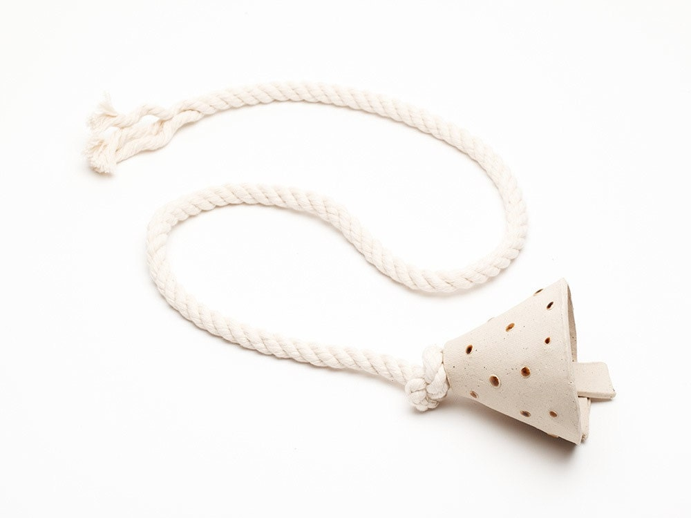 Handmade Ceramic Bell with Polka Dots and Cotton Rope - YukaipaTrading