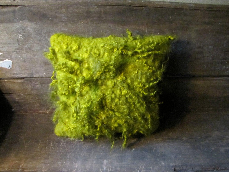 Bright spring moss green shaggy curly wool felt pillow - modernfiberlab