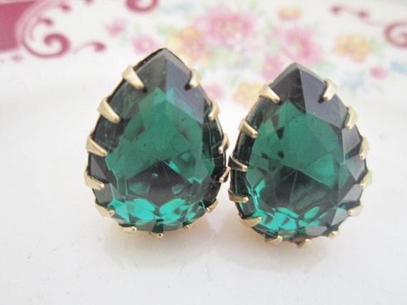 Emerald Earrings Crystal Post Emerald Green Teardrop Earrings Bridal Christmas Wedding Jewelry Mad Men Style