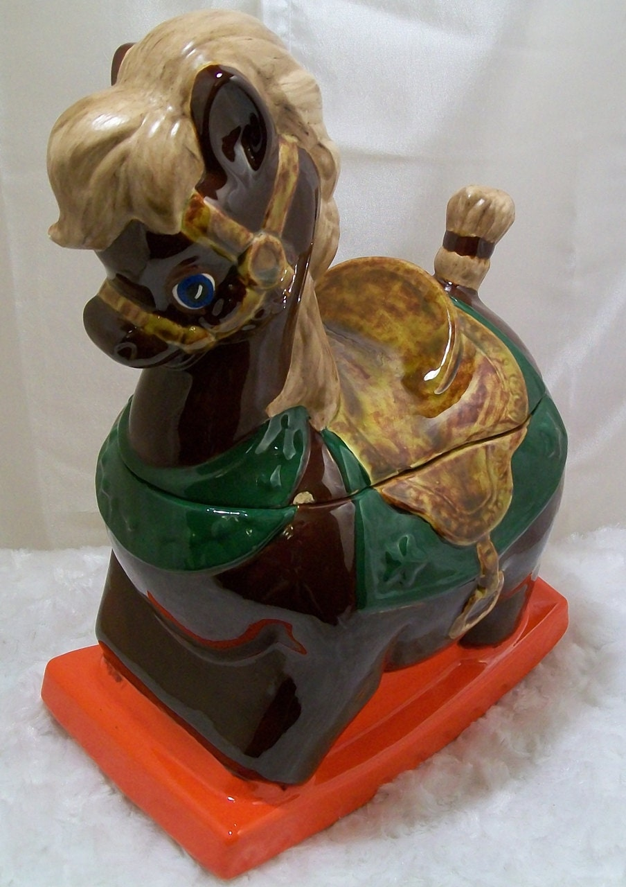 Holiday Sale RARE 1950s Rocking Horse Cookie Jar by Lane and Company