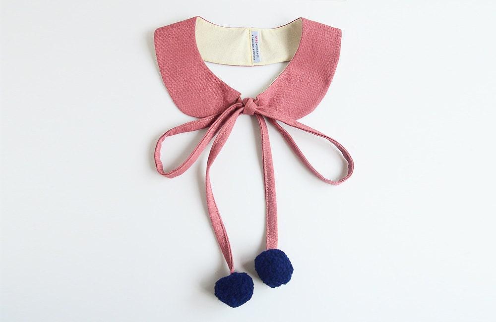 pom pom collar - summer collar - cloudy pink - qtpiworkshop
