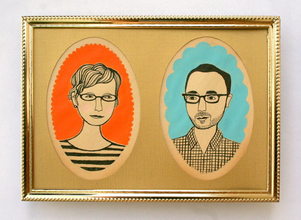 custom mid-century style couple portrait