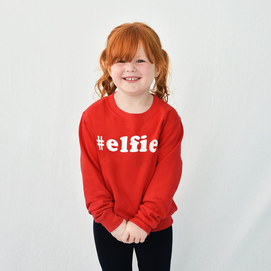 Elfie Childrens Christmas Sweatshirt Jumper  Kids Christmas Jumper  Childrens Sweatshirt  Christmas Gifts Kids ChristmasSWTCHXM002