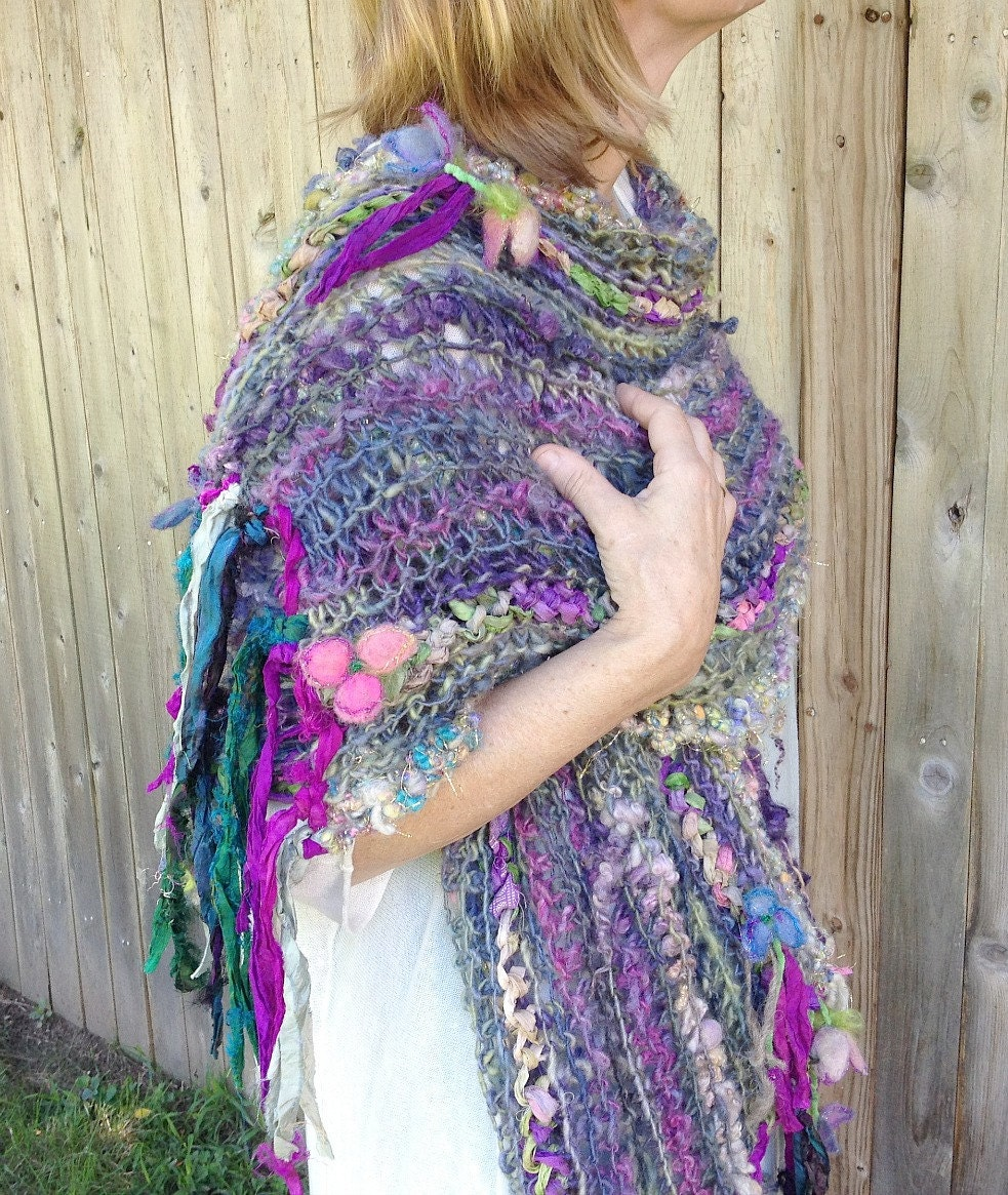 rustic handknit silk and wool wrap shawl scarf from the enchanted forest - secret garden lady - beautifulplace
