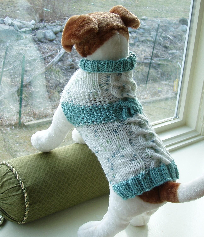 Knitting Pattern For Medium Dog Sweater : Dog Sweater Hand Knit Seafoam Cable & Seed Stitch Medium by jenya2
