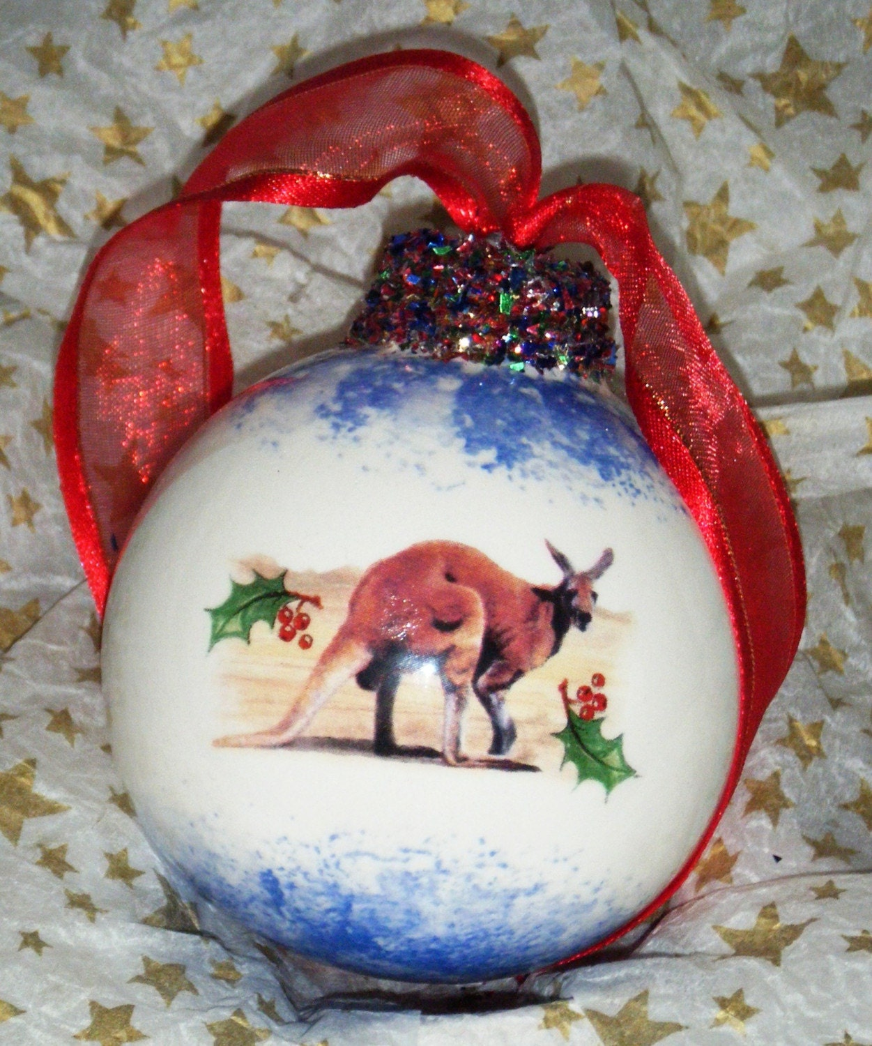 PERSONALISED CHRISTMAS AUSTRALIANA BAUBLE,TREE DECORATION,BALL-- KANGAROO DESIGN