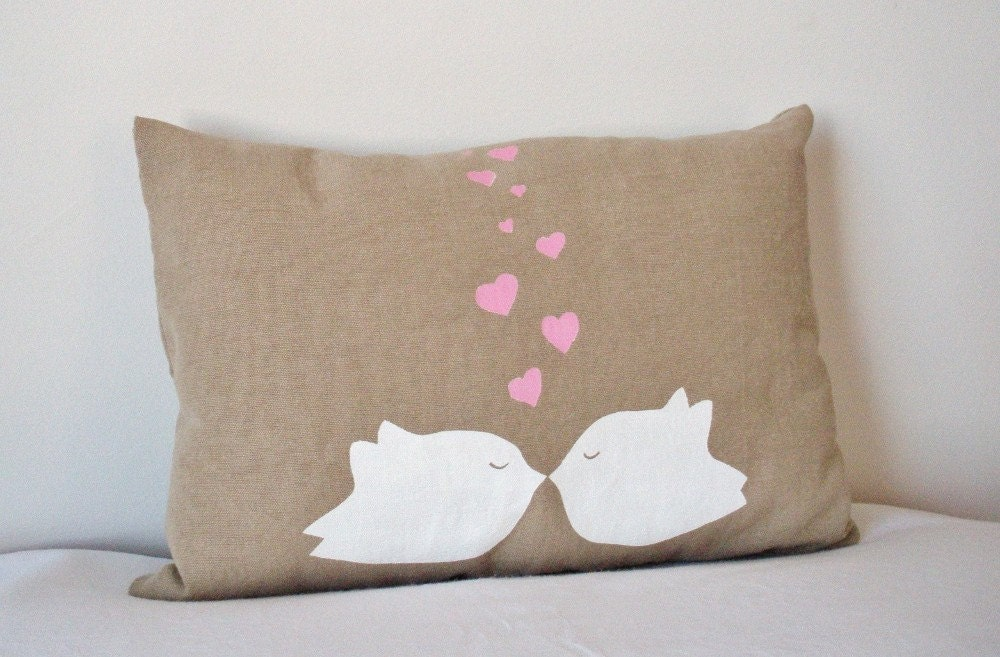 Love Birds Pillow in White and Pink 13X9