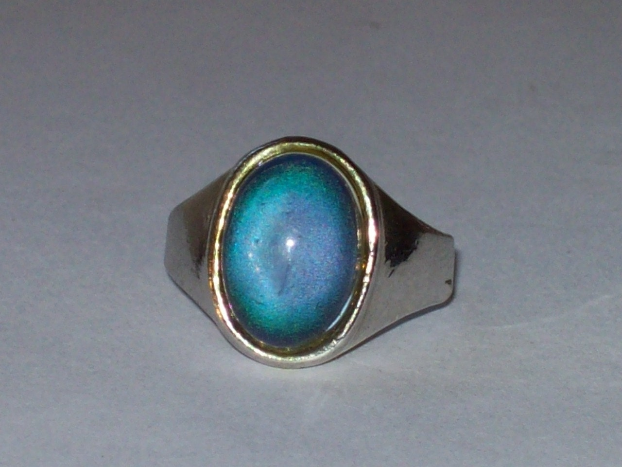 vintage large oval mood ring silver jewelry by retrorealm