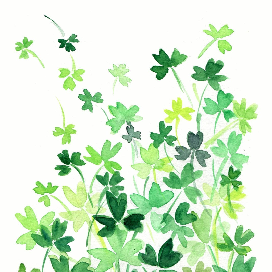 Clover Field original watercolor painting of abstract clovers meadow, Shamrock