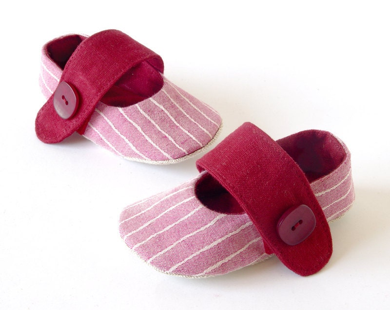 Baby girl booties - pink baby girl shoes, soft sole vegan ballet flats for girls, pink stripes & bordeaux linen