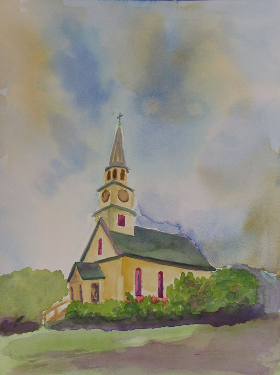 Church in Maui, Original watercolor Painting, by Kathy Olson