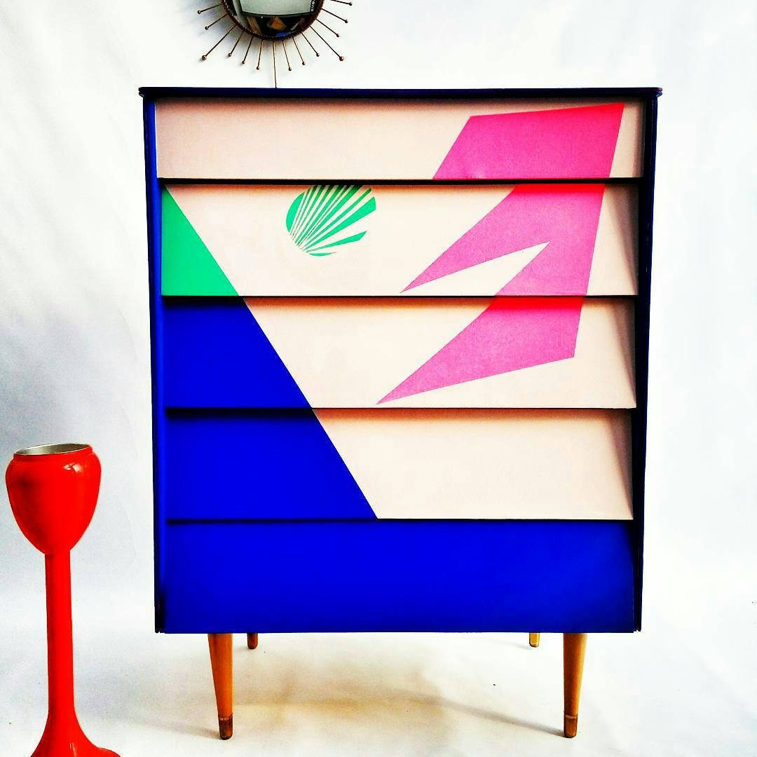 Chest of Drawers  Mid Century Dresser Four drawer Chest  Dresser Dressing Table Hand painted Chest of Drawers Geometric Retro Chest