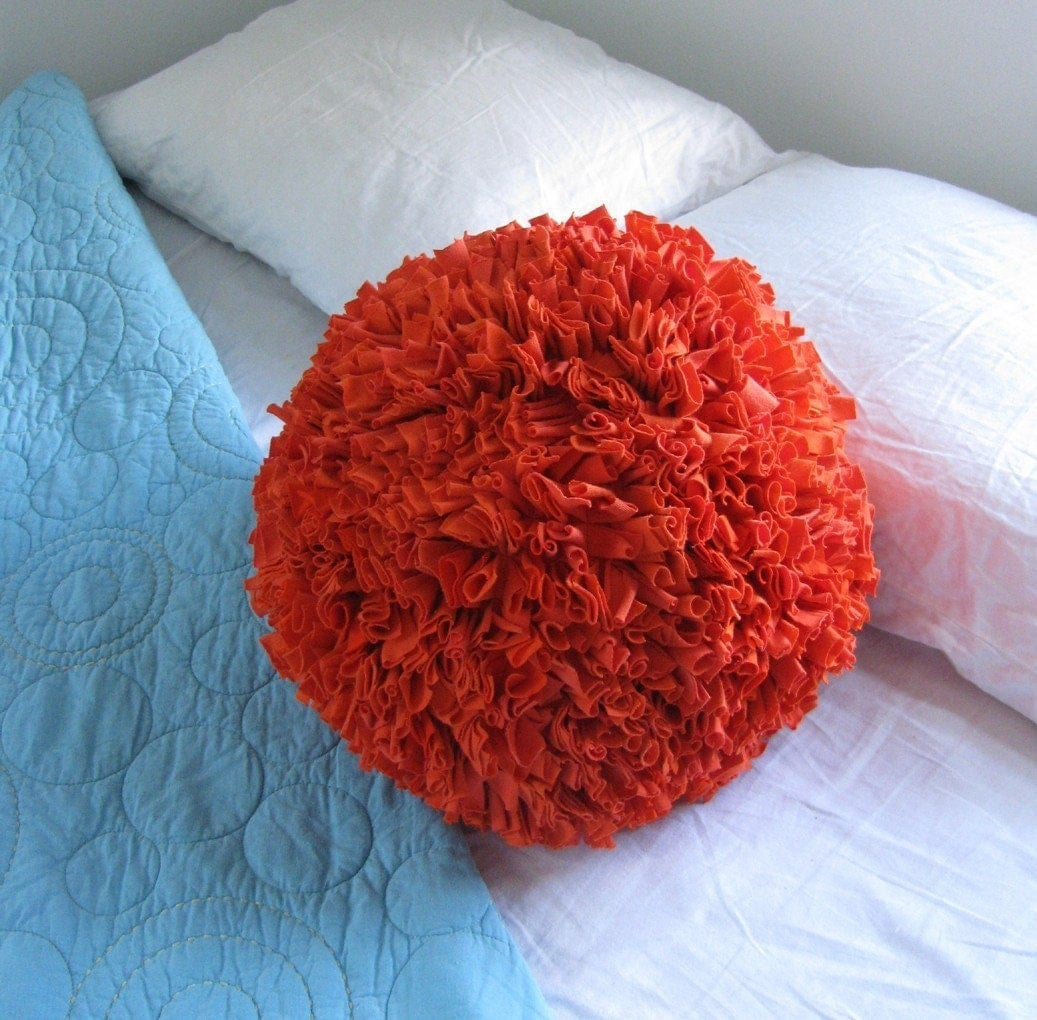 Recycled T-Shirt  Pom Pom Pillow in Bright Orange LARGE