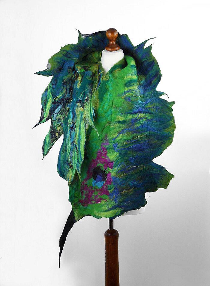 Felted Scarf Peacock Scarf Nunofelt Wrap nunofelt Scarves Nuno felt Silk jade scarf multicolor peacock shawl Fiber Art - filcant