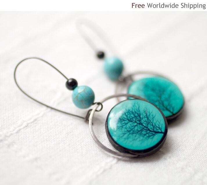 Turquoise earrings - Winter fashion jewelry - Tree jewelry (E061) - BeautySpot