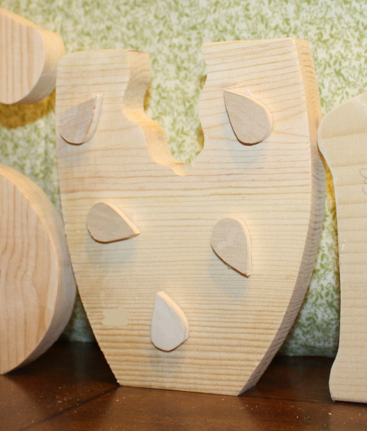 """UNFINISHED SUMMER wood letters with a watermellon for the """"U""""."""