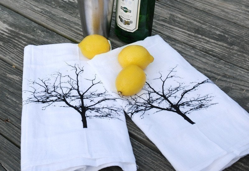 Tree Silhouette Cotton Bar Towels Set of Two