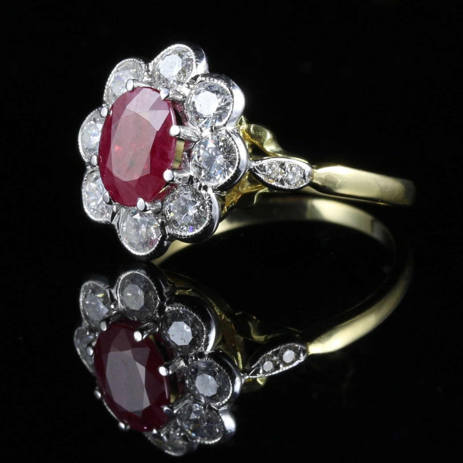 Antique Ruby  Diamond Cluster Ring 18ct Gold 1.80ct Ruby 1.20ct Diamond