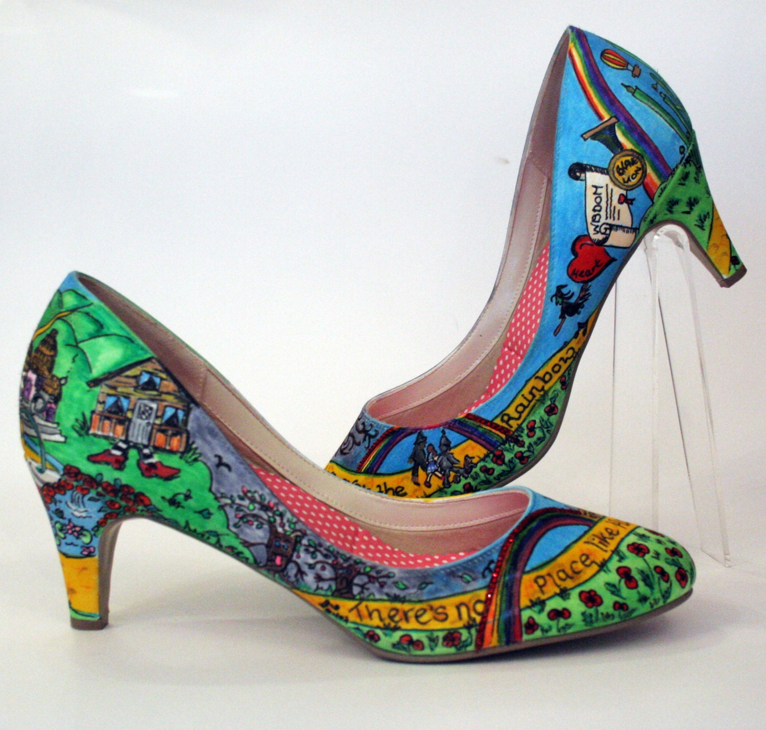 GLINDA  Wizard Of Oz Inspired Hand Painted Custom Shoe Decoration Over The Rainbow Hand Drawn Bespoke Shoes