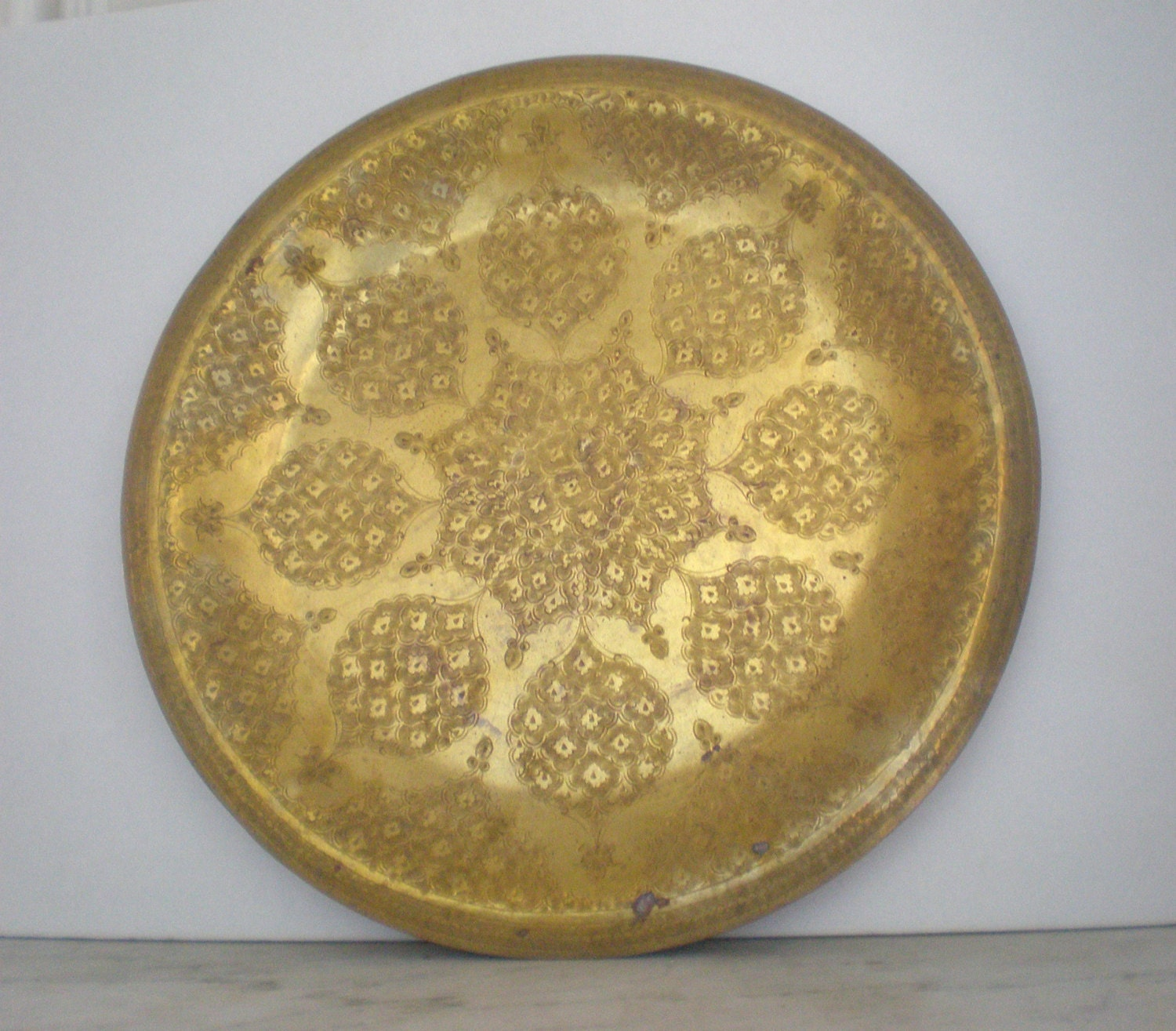 Vintage Moroccan Brass Tray 17""