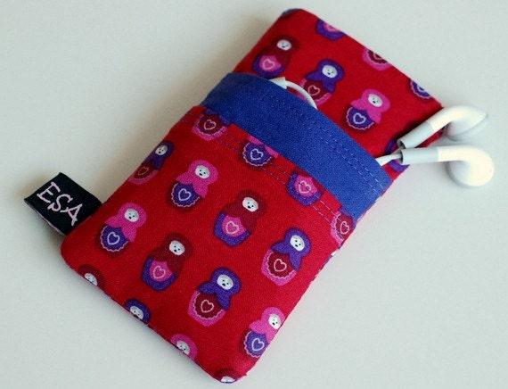 iPhone Red Babushka Handmade Two Pocket Sleeve
