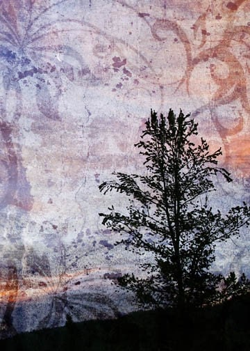 tree silhouette on a purple tapestry