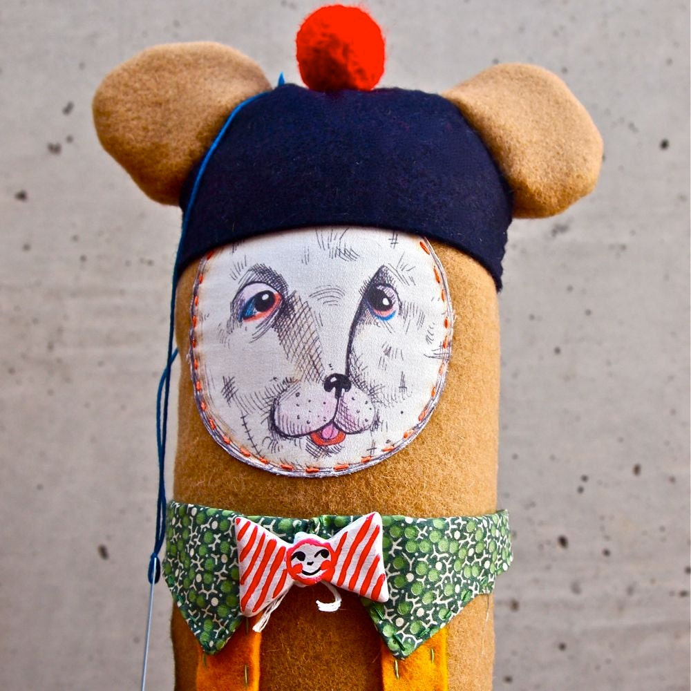 Art Doll Fabric, cloth, textile, soft sculpture, Cashmere Bear