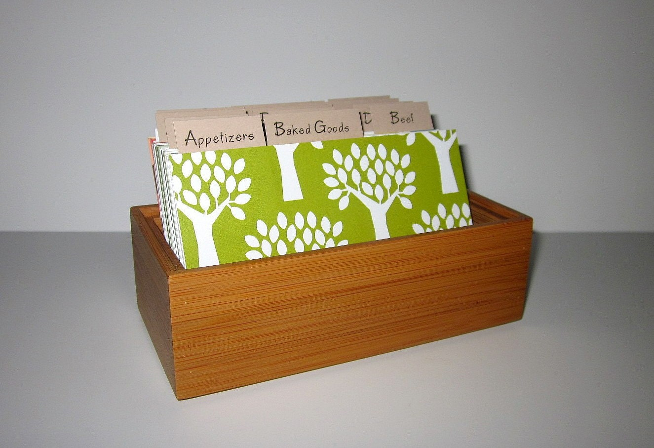 READY TO SHIP...New Item..Beautiful Recipe Card Box  with Fun Colorful Dividers