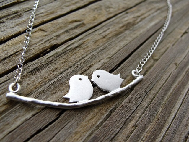 Silver Tweeting on a Branch Necklace by PiperBlue on Etsy from etsy.com