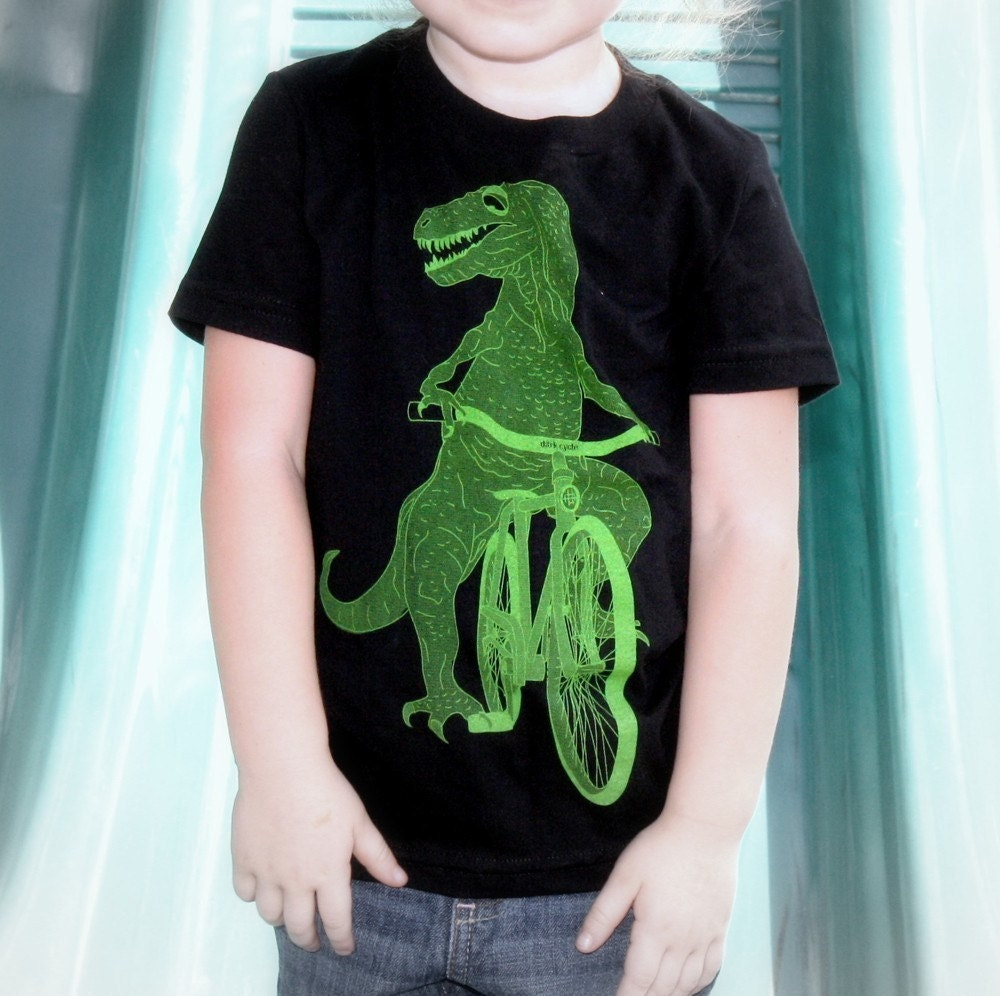 Dinosaur on a Bicycle Kids - Black Short Sleeve Children T-Shirt - American Apparel - FREE SHIPPING - Available in 2, 4, 6, 8, 10 and 12