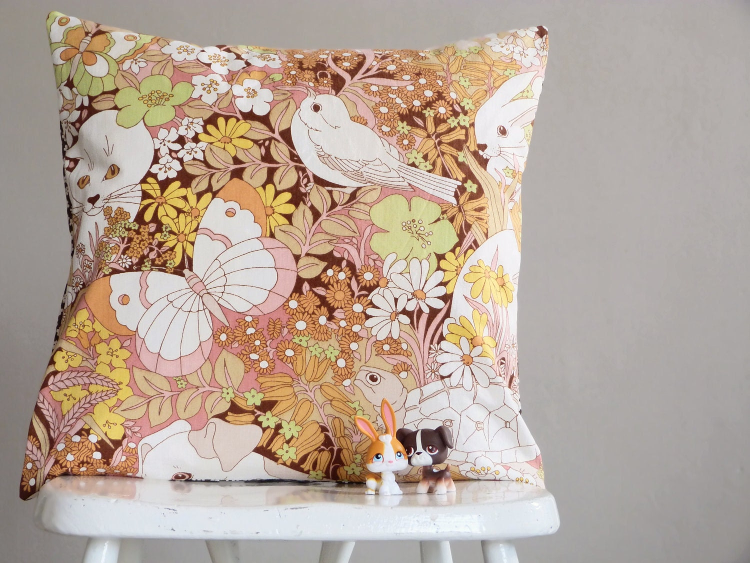 Who hides in the flowers - Cute vintage fabric cushion or pillow - OhClementineBeMine