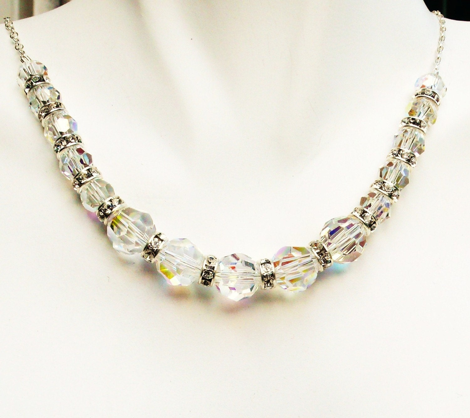Swarovski Crystal AB and Rhinestone Necklace Sterling Silver
