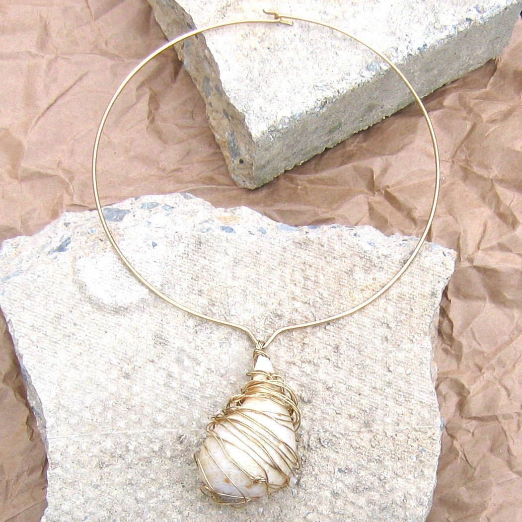 ivory and gold modern sea shell choker by herbanelements on Etsy