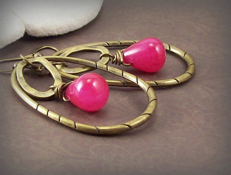 Raspberry Kiss Earrings - Hot Pink Candy Jade with Antique Gold Hoops