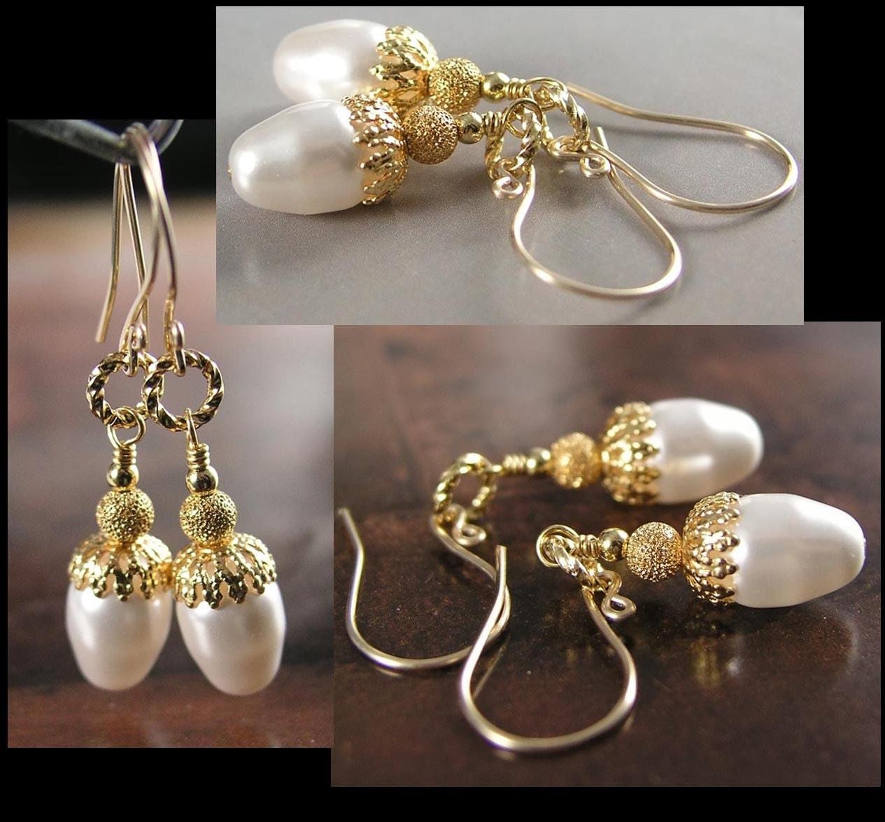 FAIRYLAND ACORNS Earrings, Swarovski White Crystal Pearls,  Gold